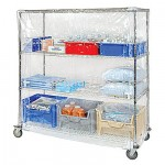 Wire Shelving Unit with Bins and Shelf Cover